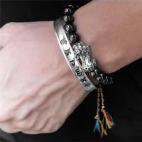 feng shui magnetic hematite stretch beads bracelet men women tibetan buddhist braided lucky knots rope pixiu black bracelet