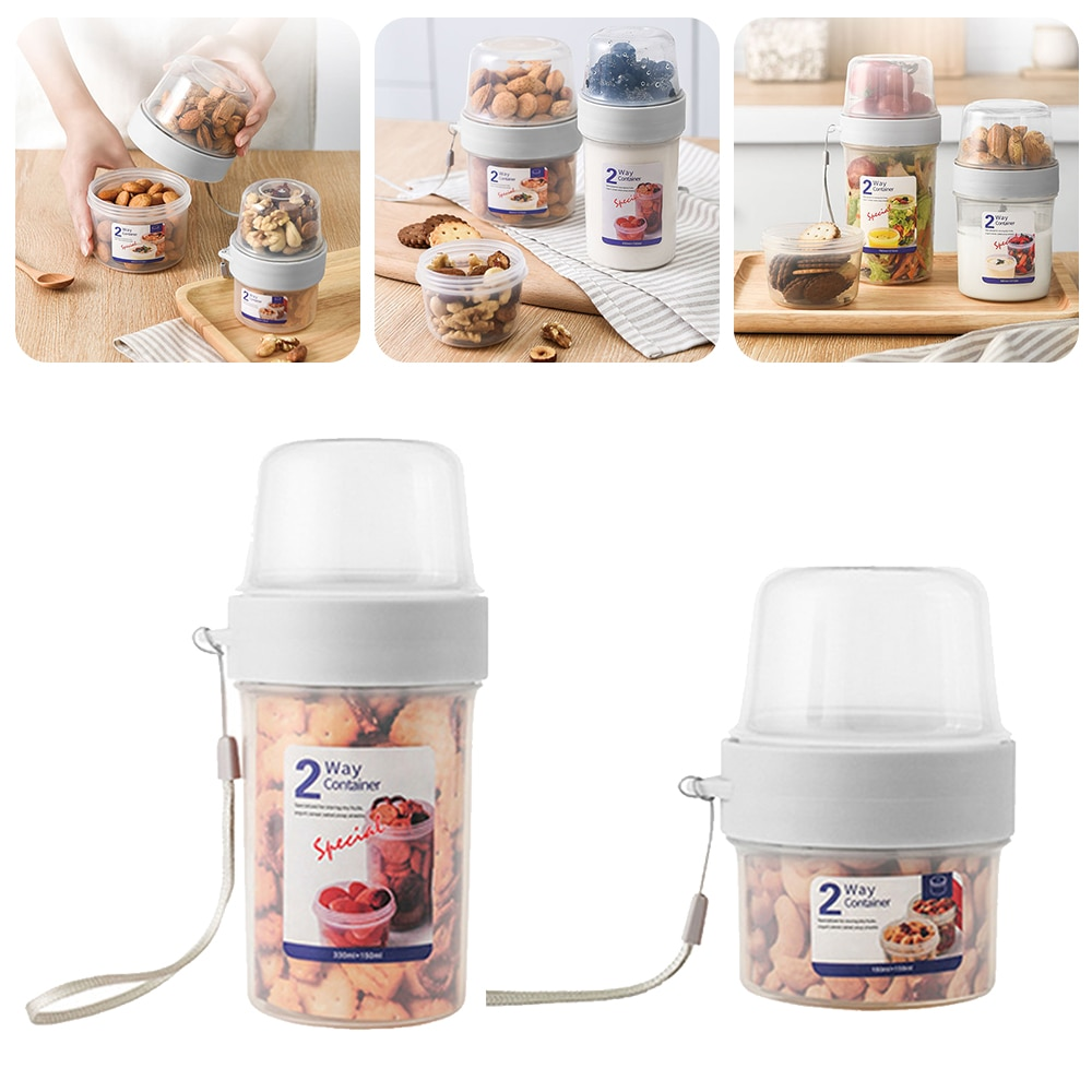 AliExpress - 2 Layer Food Storage Jar Moistureproof Kitchen Nuts Cereal Portable Picnic Milk Can Vegetable Salad Container Food Storage Box