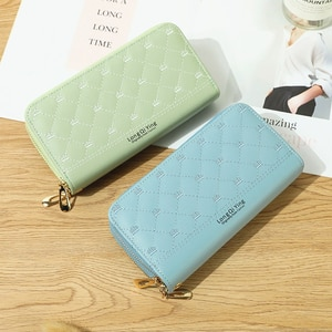 Women's Wallet Long Pu Leather Embroidery Thread Double Zipper Ladies Hand Wallet  Multi-card Fashion Wild Mobile Phone Bag