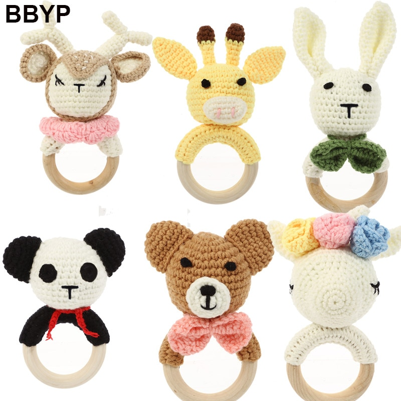 20pcs-baby-teether-rattle-toys-panda-milu-deer-crochet-wooden-teething-ring-baby-teether-cot-hanging-toy-baby-products-diy-craft