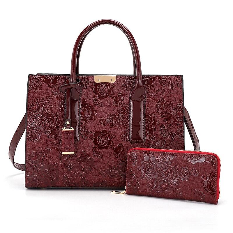 Bolso de lujo para mujer con estampado de rosas, estilo chino, 2 unids/set, bolso de hombro femenino, bolso famoso con monedero