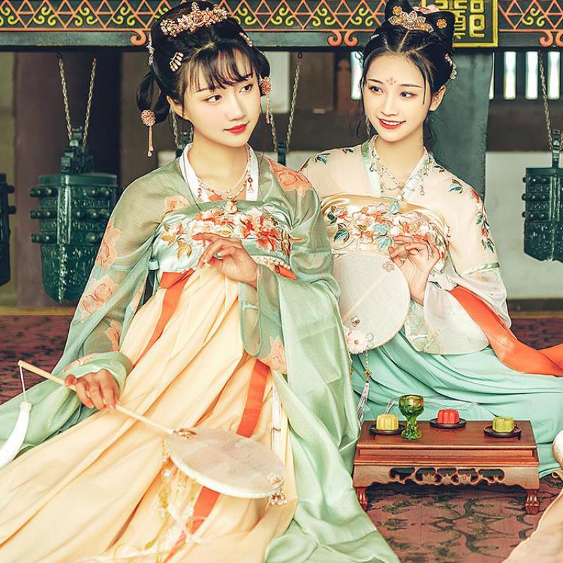 Neuheit Cosplay Kostüme Fee Tang-anzug Frauen Hanfu Brust Länge Hemd Und Rock Elegante Blume Bühne Leistung Kleidung