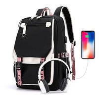 Женский рюкзак, школьные сумки для девочек-подростков, черный, розовый, крутой, в стиле пэчворк, Большой Вместительный рюкзак, молодежная за...