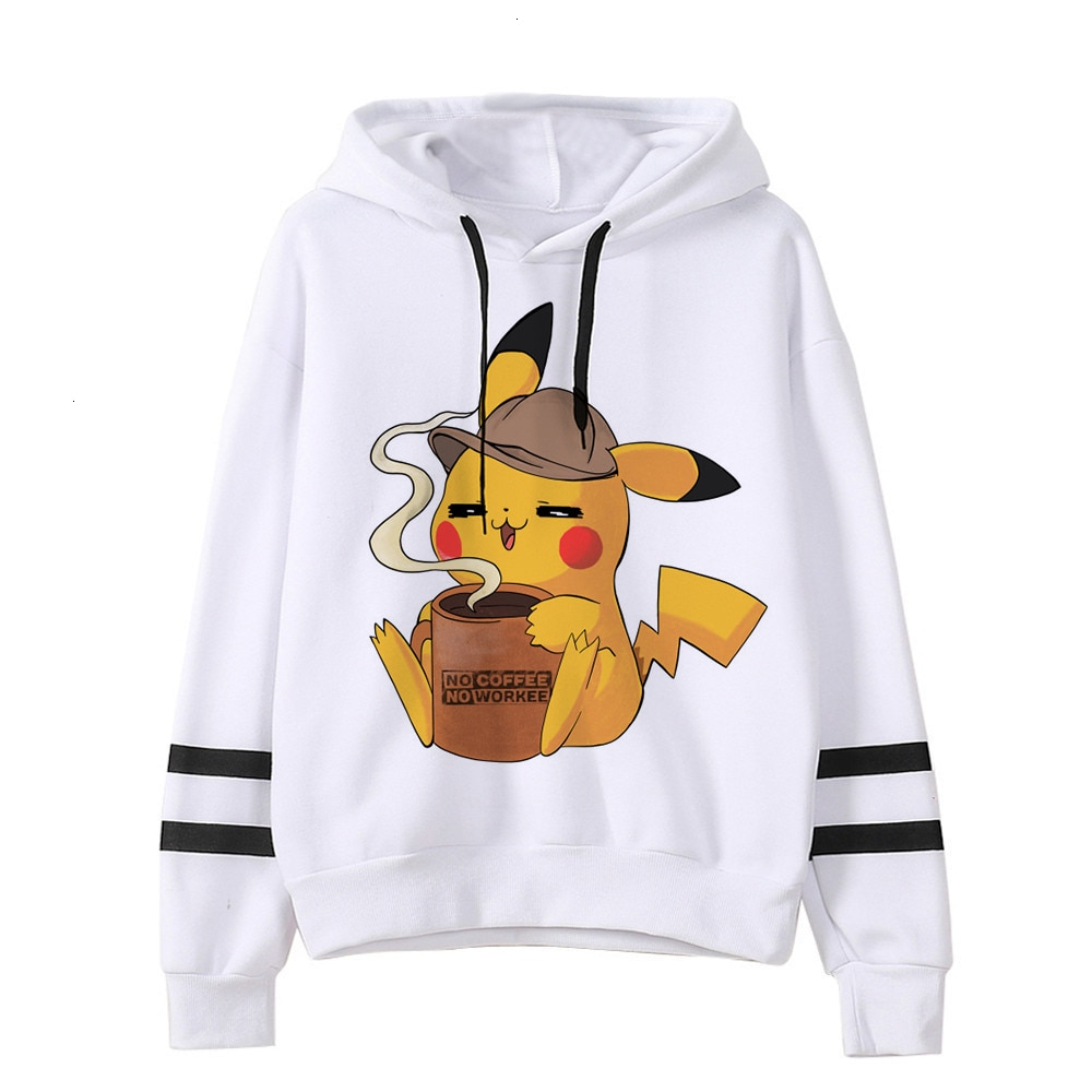 Sudadera de Pikachu Pokemon detectv divertida para mujer sudadera Pika Kawaii ropa para mujer Pullovers femeninos dibujos animados japoneses coreanos hombres