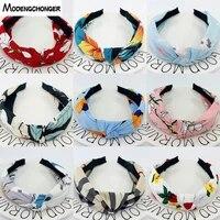 new fashion head hoop top knot hairband turban bohemia hair bezel headband for women girl printing headdress hair accessories
