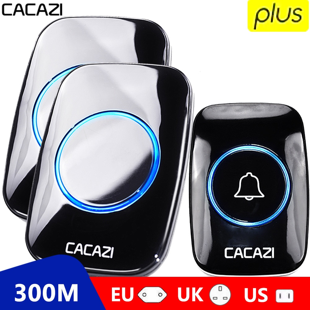 CACAZI 60 Chime 110DB 300M Wireless Doorbell Waterproof Remote EU AU UK US Plug Smart Door Bell Battery 1 Button 1 2 3 Receiver