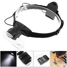 6X Tragbare Stirnband Brillen Lupe 11 Verstärkung Verhältnis Lupe Austauschbare Objektiv mit LED-Licht und 5 Linsen