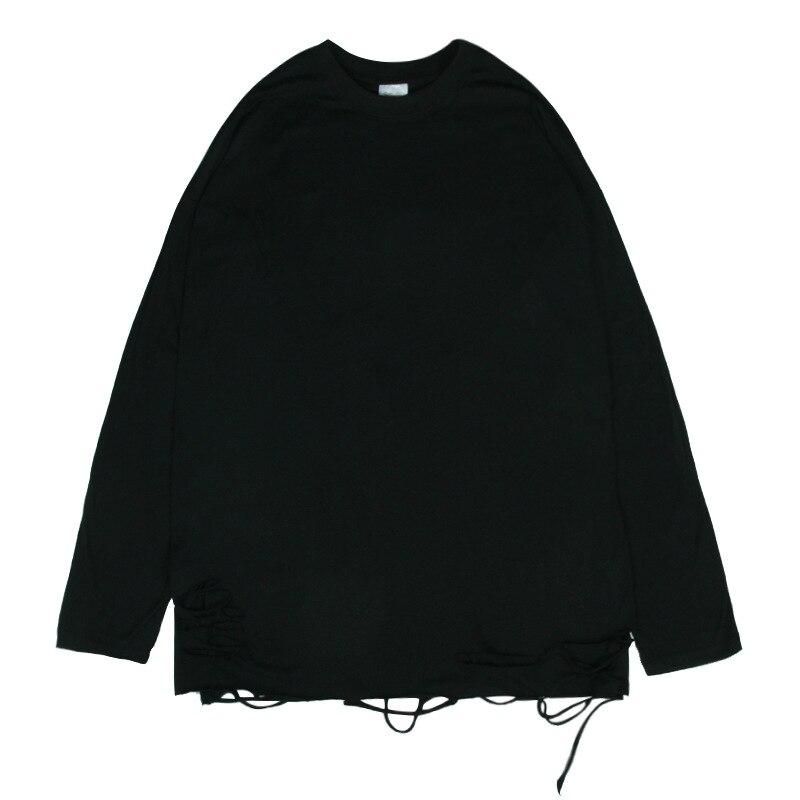 Homens pullovers streetwear hem buraco sólido manga longa camiseta ins primavera hip hop alta rua o-pescoço tshirt solto roupas masculinas