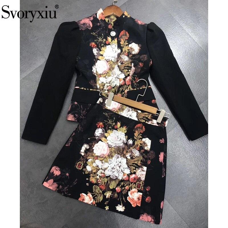 Svoryxiu pista de lujo Otoño Invierno falda traje de mujer Vintage negro barroco flor estampado cristal diamante dos piezas conjunto