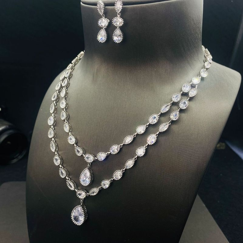 Water Drop Lab Diamond Jewelry set White Gold Filled Promise Party Wedding Earrings Necklace For Women Bridal Jewelry Gift