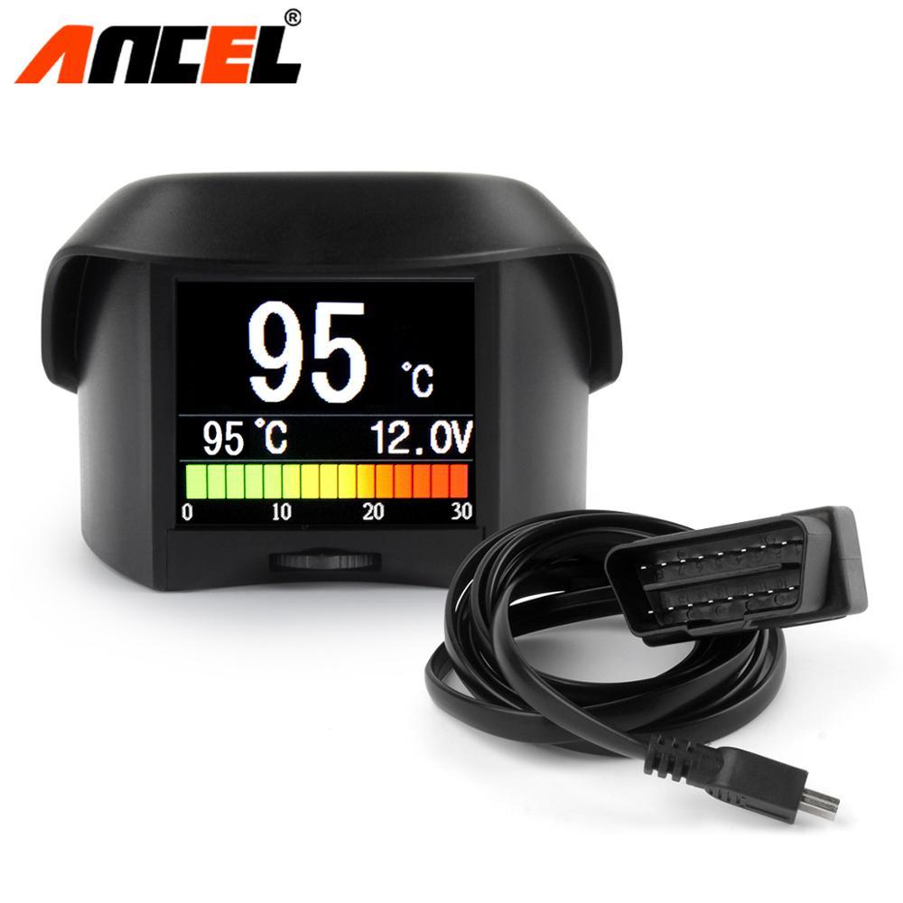 Ordenador integrado ANCEL A202 para coche Digital OBD2, medidor de computadora, velocímetro, medidor de temperatura de consumo de combustible, escáner OBD