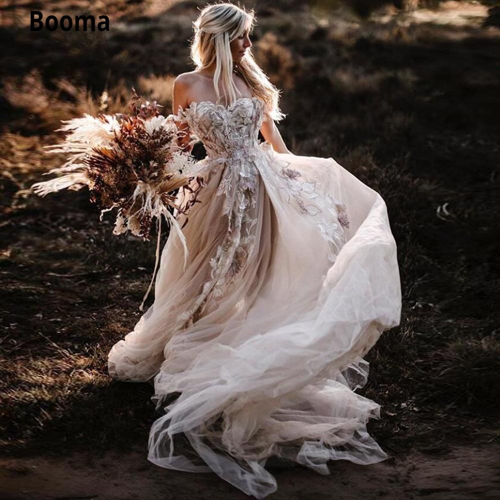 Booma Цветочные аппликации романтические 2021 свадебные платья в стиле Country кружева трапециевидной формы с открытыми плечами и открытой спиной ...