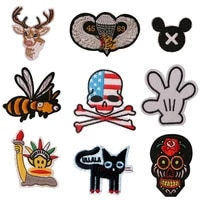 cartoon decorative deer gloves skull icon embroidered applique patches for diy iron on badges stickers on backpackthe clothes