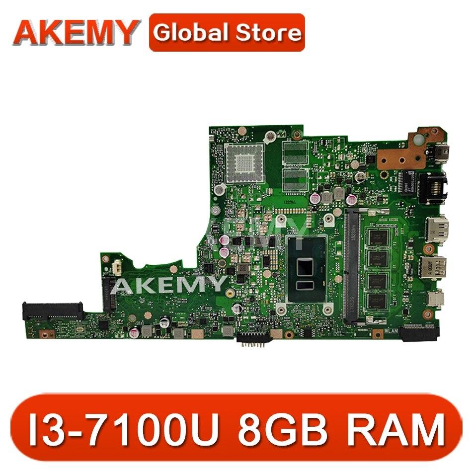 SAMXINNO para ASUS X405U X405UA X405UN X405UR X405URR X405UQ X405URP X405UF computadora portátil placa base X405UA placa base 8GB RAM I3-7100U