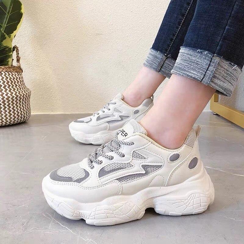 Sapatos de Moda Mulheres Grossas Tênis Vulcanize Coreana Nova Fêmea Preto Branco Plataforma Sola Grossa Running Casual Sapato Mulher 6cm