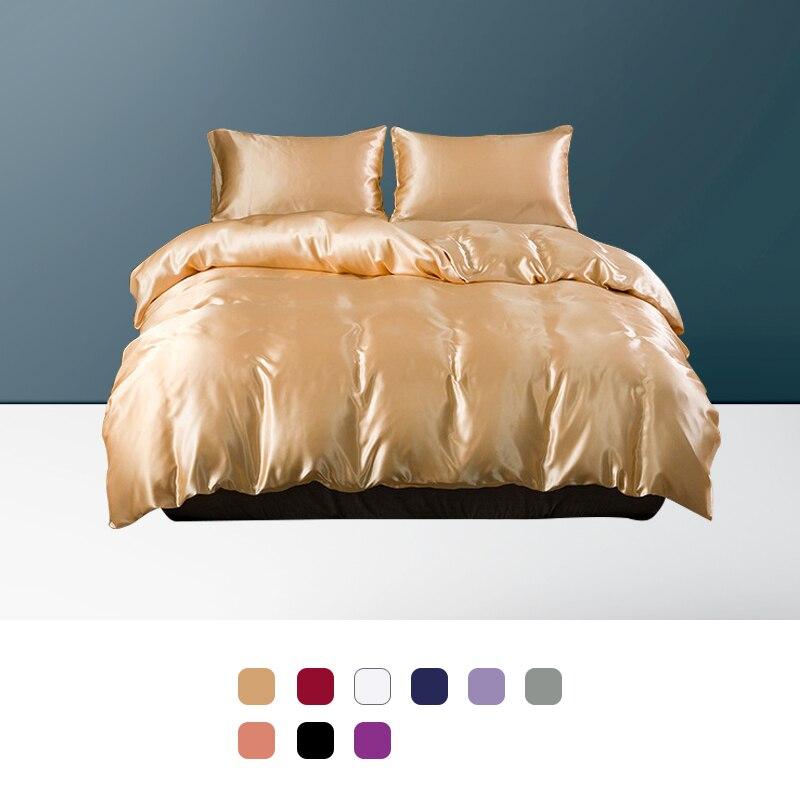 Juego de cama de lujo sólido de satén de imitación de seda funda de edredón funda de almohada edredón sábana juegos de cama tamaño doble reina rey juego de cama