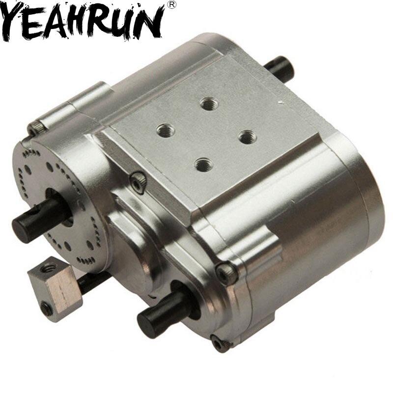 Funda de transferencia de 2 velocidades de plata YEAHRUN para coche de orugas SCX10 D90 1/10 RC