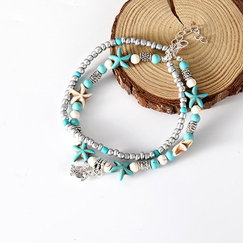 AliExpress - Boho Style Ankle Bracelet Bohemia Sea Turtle Starfish Charms Beach Anklet Shell For Women Handmade Leg Bracelet Jewelry
