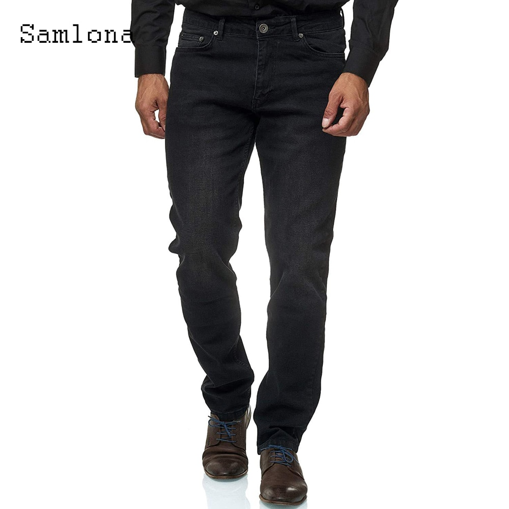 Мужские джинсы Samlona коллекции 2021 года, брюки из джинсовой ткани, Новые повседневные Прямые брюки стройнящего силуэта, мужские модные джинсо...