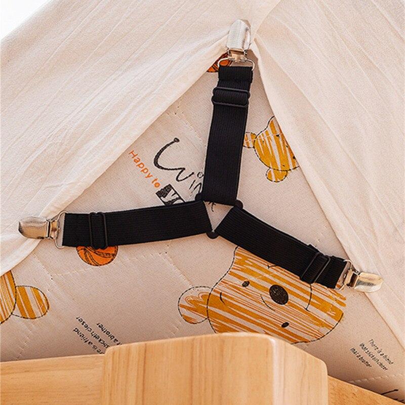 White Black Fastener Bed Sheet Clips Mattress Cover Blankets Holder Elastic Bed Sheet Grippers Belt Organize Gadgets