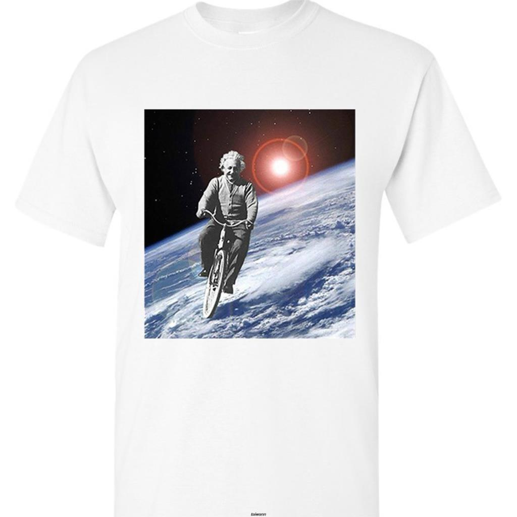 Camiseta Retro de algodón con estampado de 100%, camiseta de paseo espacial de Albert Einstein E = Mc2 física, premio Noble Negro S M L Xl