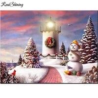 Peinture diamant theme bonhomme de neige et phare  broderie complete 5d  perles carrees ou rondes  art de la maison  bricolage  mosaique  F268