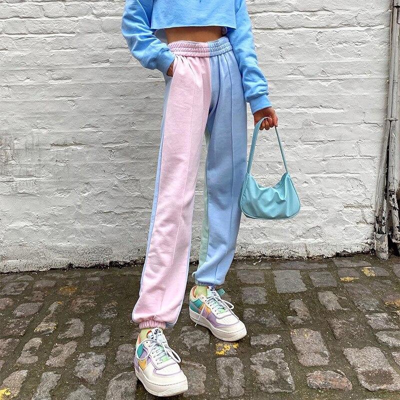 Pantalones de correr de cintura alta para mujer, pantalones de chándal Harajuku, pantalones de chándal de Hip Hop, pantalones de chándal para mujer, pantalones de chándal con estampado de Color para mujer