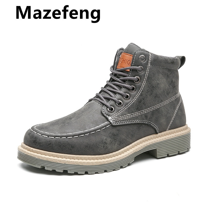 حذاء رجالي, حذاء جلدي رجالي عالي الجودة ربيعي، طراز كاجوال، فوق الكاحل، مناسب لسائقي الدراجات النارية
