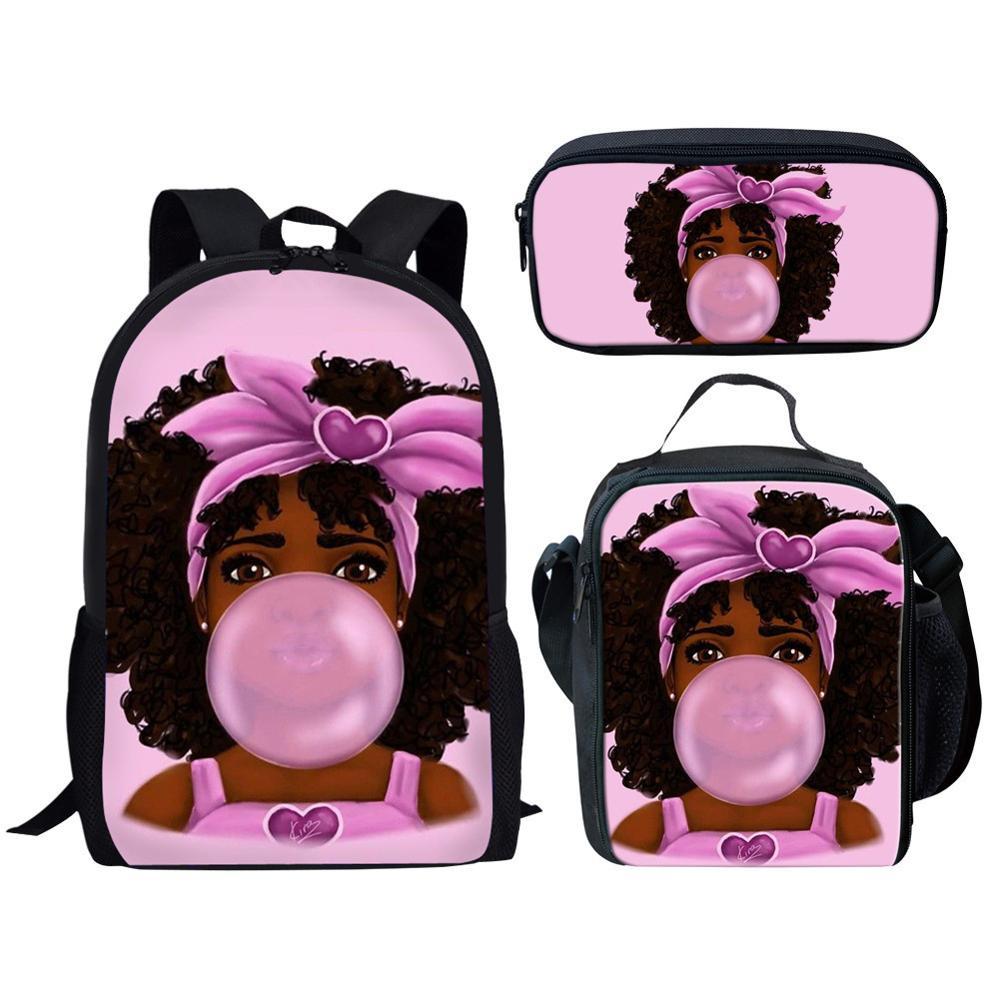Bolsas de Escola para Crianças Bolsa de Livro de Ombro Novas Crianças Menina Negra Magia Afro Senhora Impressão Bolsa Escolar Adolescentes Mochila 2021