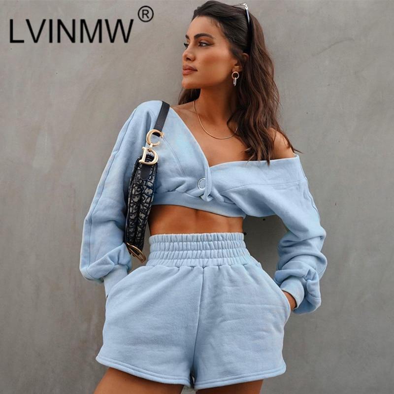 أطقم سراويل LVINMW ملابس خروج نسائية بسيطة نحيفة مثيرة نقية قطع منخفضة بدون ظهر وأكمام طويلة ملابس علوية مرنة عالية الخصر