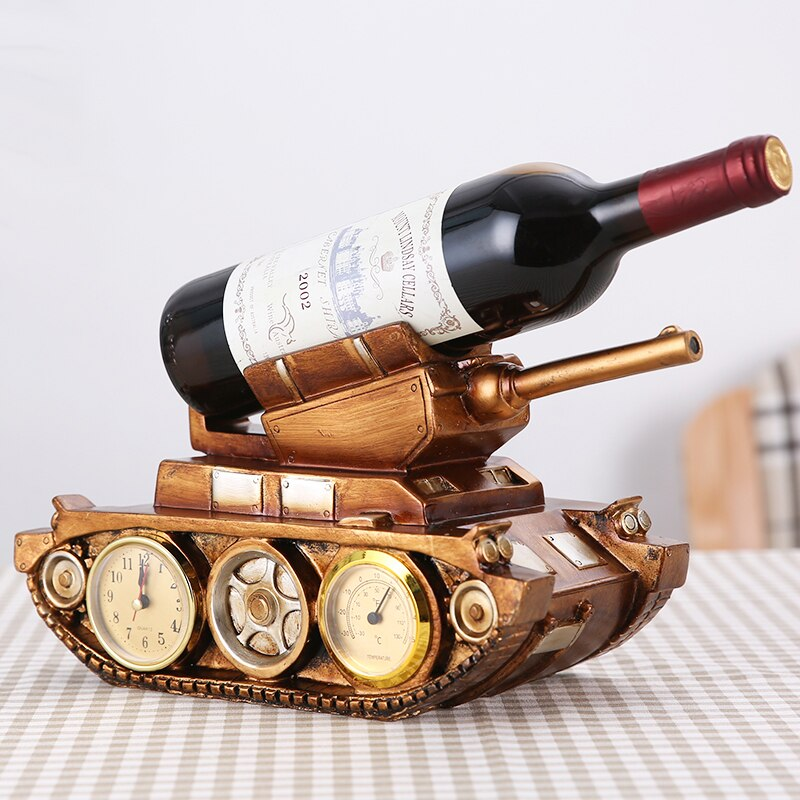 Estante del vino del tanque europeo Retro con los relojes de la decoración del hogar estante del vino tinto de la sala de estar del gabinete del vino estante de la bicicleta del regalo CL01232