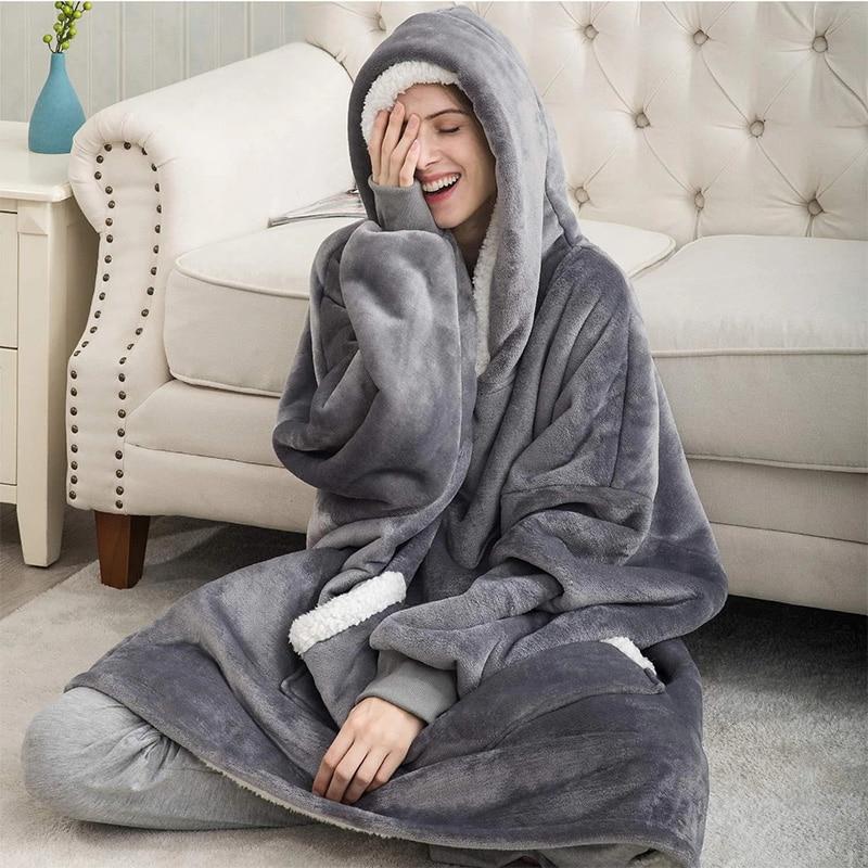 Зимняя женская толстовка с капюшоном, свитшот, теплые одеяла с карманами, уличная Длинная толстовка для женщин, пальто, плюшевая Толстовка б...