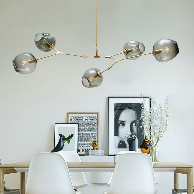 north american country pendant lights loft retro dining room bedroom ceiling lamp simple creative iron 3 6 heads pendant lamps Vintage Loft Industrial Pendant Lights Black Gold Retro Pendant Lamps for Bar Stair Dining Room