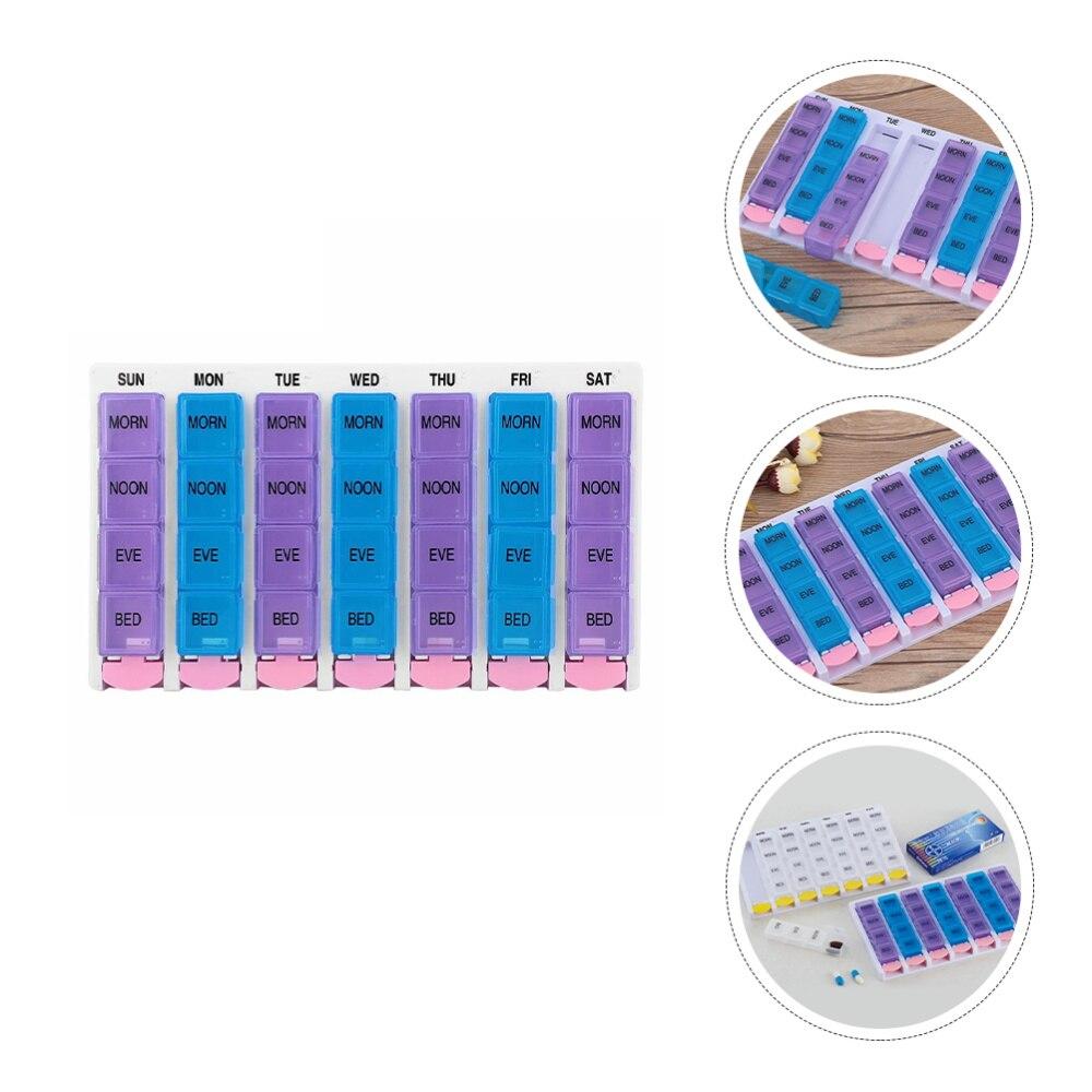 1pc  Pill Case 28 Compartments Pill Storage Box Portable Medicine Container