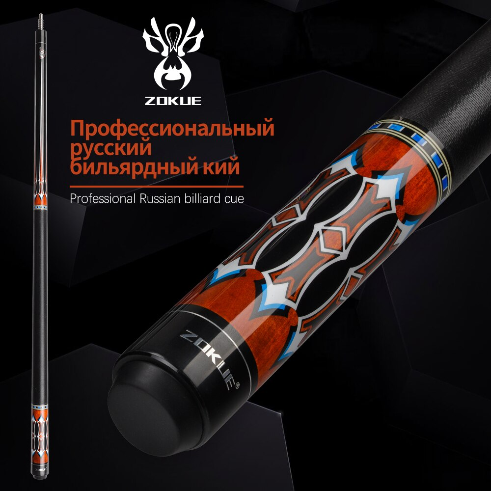 ZOKUE Russian Billiard Cue 160cm 12.75mm Radial Pin Billiard Cue Stick Featured Canadian Hard Maple Pool Cue Stick With Case