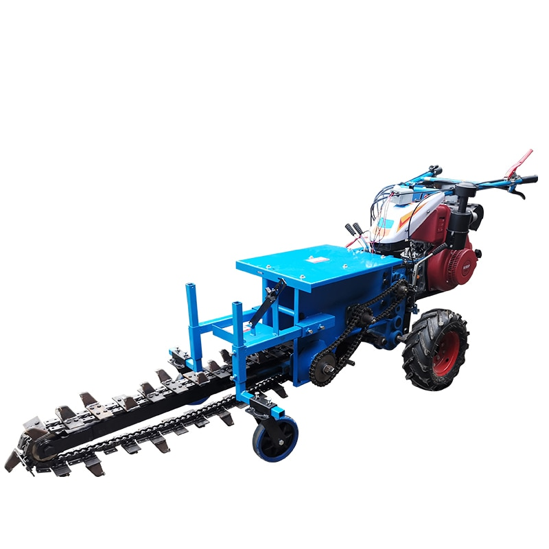 hand-held trencher Width 200mm, depth 800mm, diesel small chain trencher, pipeline deep cable pipeline trenching machine