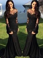 vinca sunny black o neck long sleeves sequins appliques mermaid evening dresses floor length women gowns