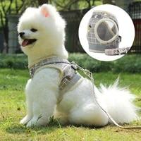 new reflective dog cat harness adjustable vest walking soft mesh breathable pet collar traction leash set for dog pet supplies
