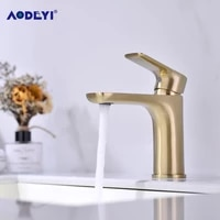 solid brass bathroom basin faucet hot and cold for water mixer taps deck mounted sink tap single handle faucets brushed golden