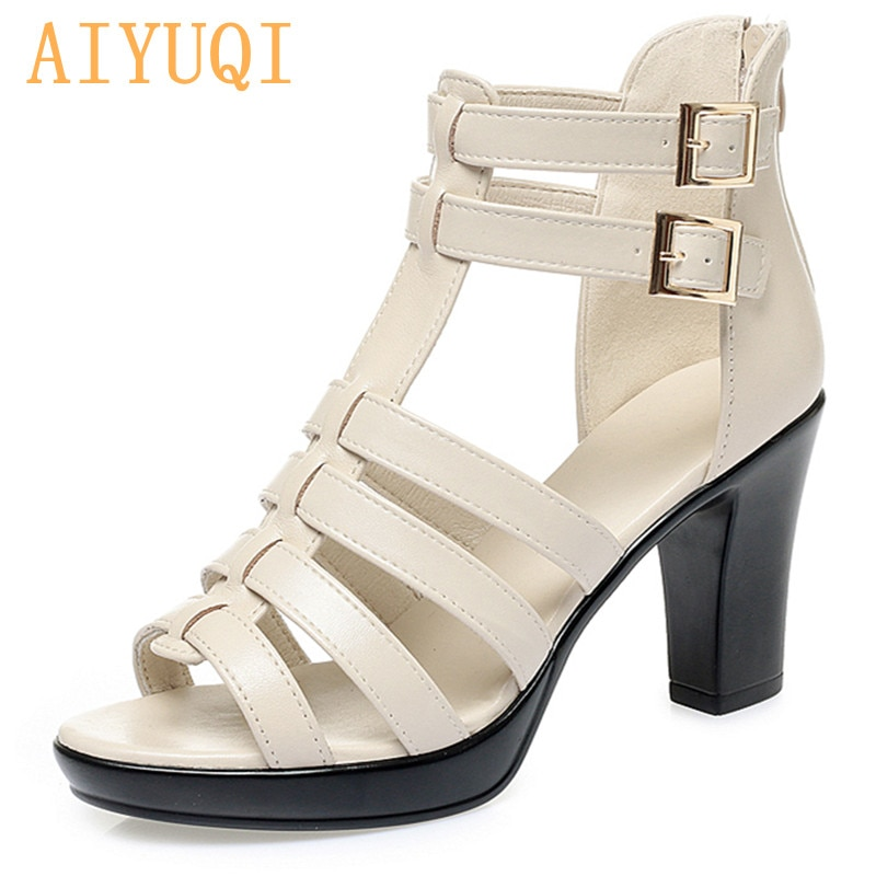 AIYUQI Sandals Women Summer 2021 New High Heels Pump Open Toe Sandals Ladies Genuine Leather Rome Fa