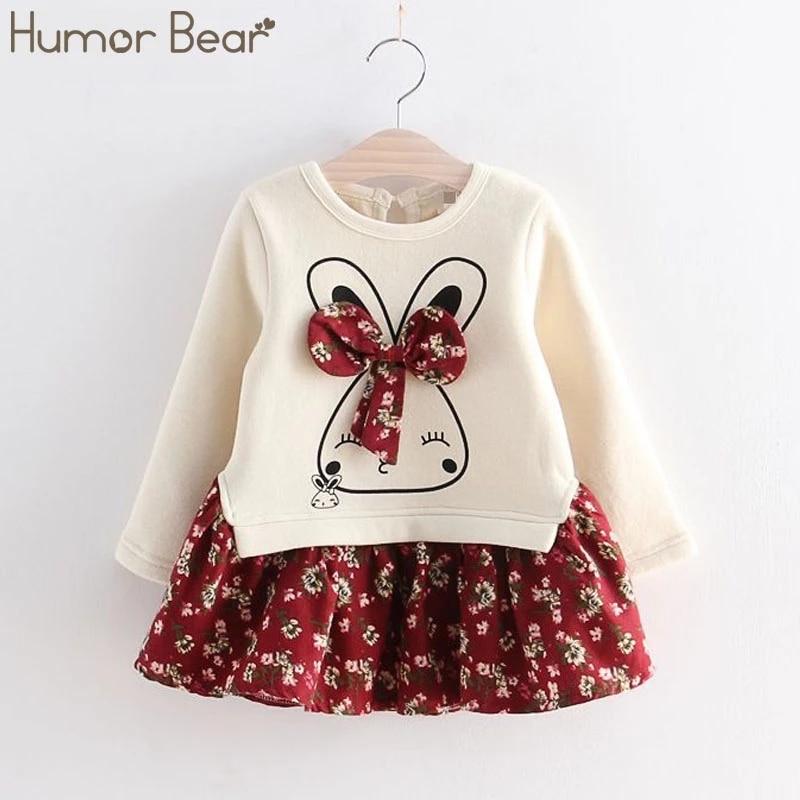 Humor Bear Girls Dress Summer Autumn Flower Princess Dress Toddler Girl Clothes Children Clothing Cute Animal Baby Girls Dresses