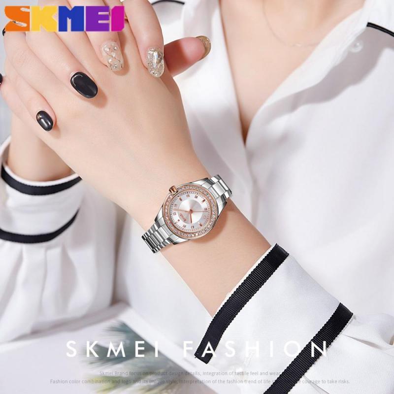 SKMEI Top Brand Fashion Women Quartz Watches Rhinestone 3Bar Waterproof Stainless Steel Strap High Quality Relogio Feminino enlarge