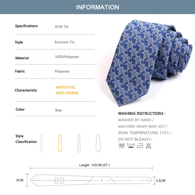 Brand New Fashion Print Ties High Quality Blue 6CM Tie For Men Business Suit Work Neck Tie Casual Formal Necktie With Gift Box