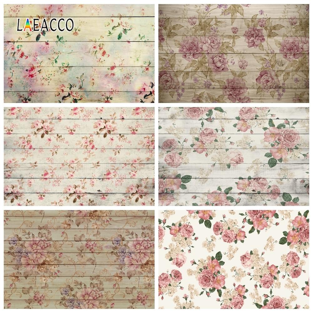 Laeacco bebê shower photophone crianças recém-nascidos retrato photozone placa de madeira flores fotografia backdrops foto fundos