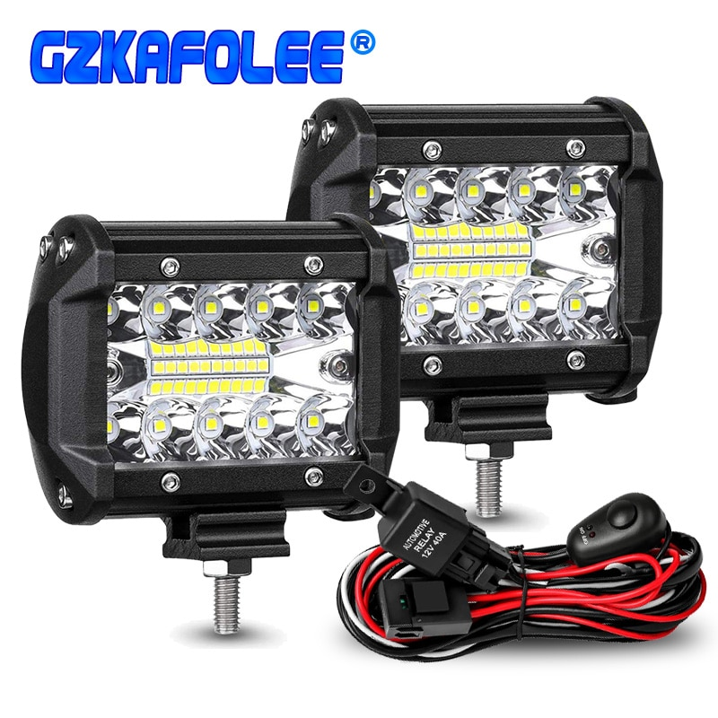 60W 4INCH 20LED Waterproof Work Light LED Light Bars Spot Flood Beam for Work Driving Offroad Boat C
