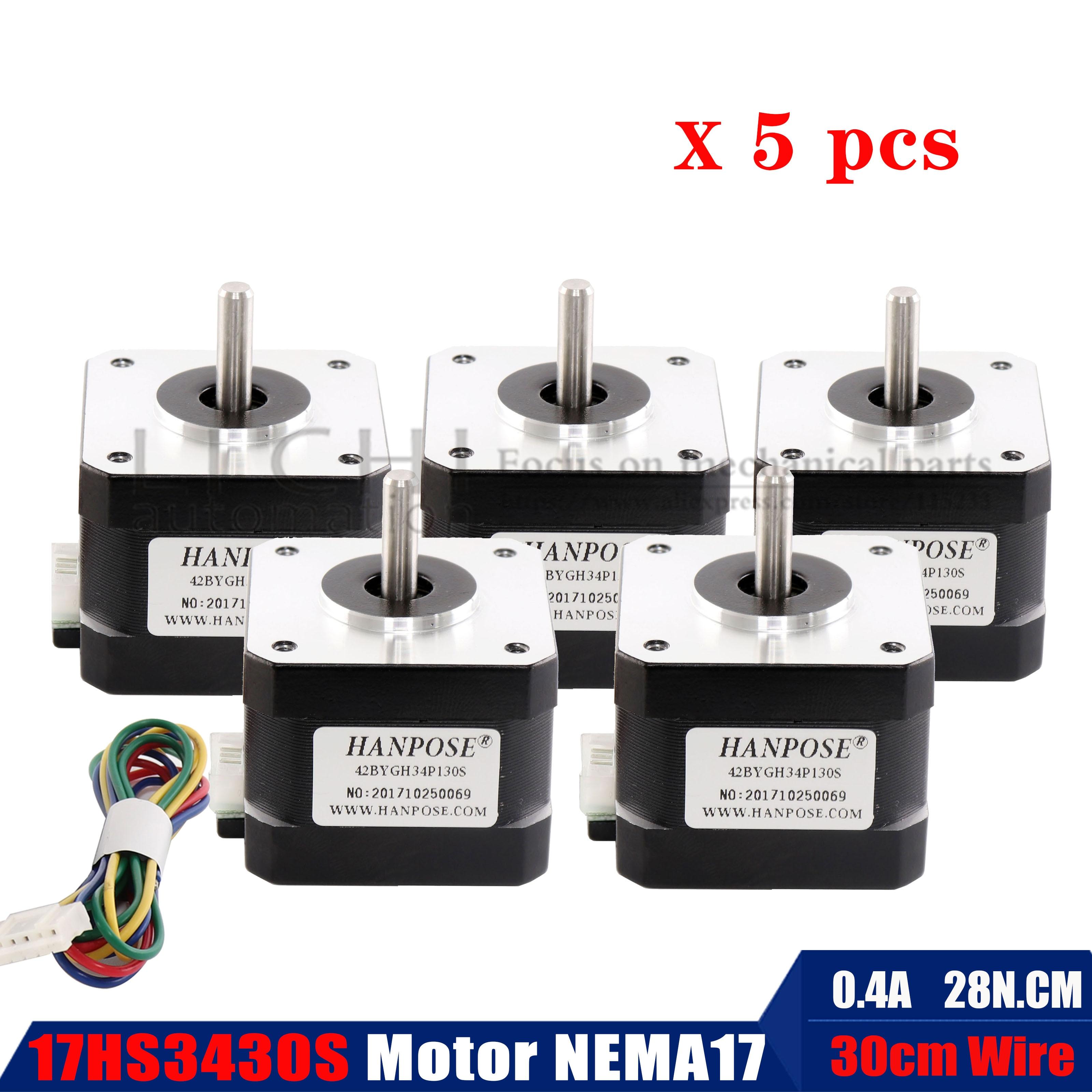 (17HS3430) 5 uds 0,4a Nema17 Motor paso a paso 42 motor BYGH para CNC XYZ para impresora 3D Motor paso a paso