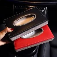 fashion leather car tissue box cover napkin holder luxury diamond rhinestone car assessoires interior for women girls beautiful