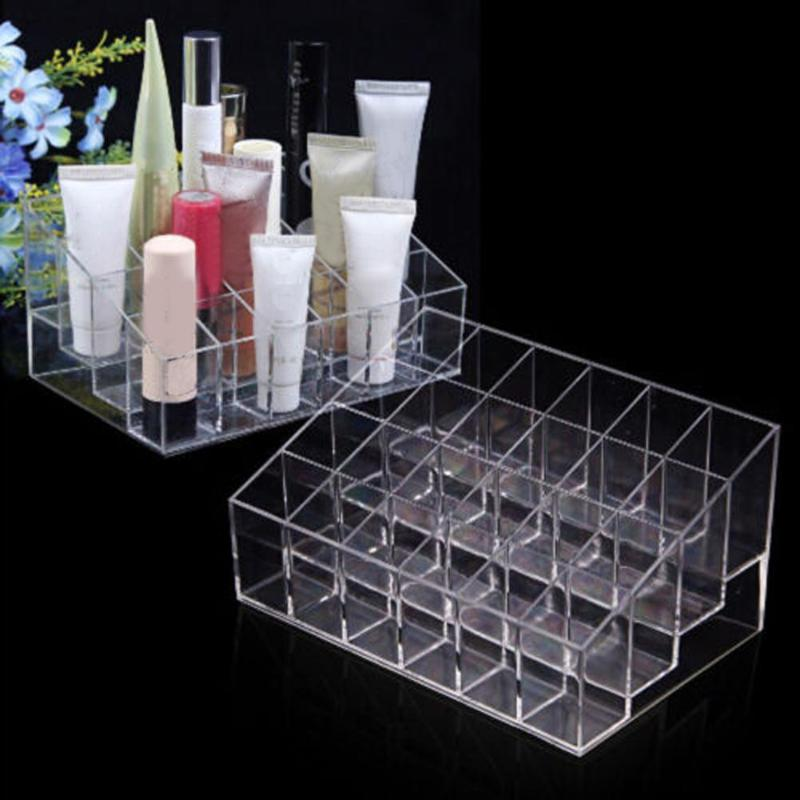 24 Grid Lipstick Box Acrylic Makeup Organizer Storage Nail Polish Display Stand Holder Cosmetic