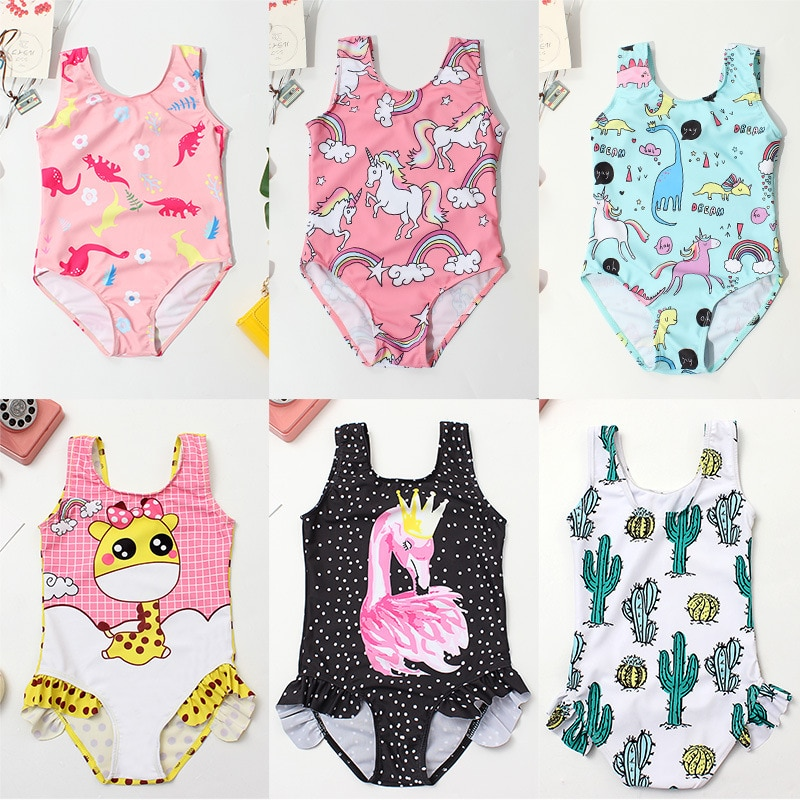 new summer baby swan swimsuit fashion ruffle flamingo kids swimsuit cute baby beach wear with matching hat free shipping yz066 Cactus Print Baby Girl Swimsuit One-Piece Ruffle Children Swimwear 3-8 Years Cute Kids Girl Bathing Suit Child Summer Beach Wear