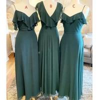 dark sage chiffon bridesmaid dress plus size sexy spaghetti strap women wedding guest party dresses oversize